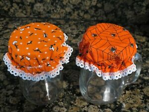 Decorative Fabric Jam Jar Covers fitted elastic Kitchen canning Halloween bats