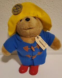 "VINTAGE 1975 ☆ EDEN TOYS - PADDINGTON BEAR 13"" TALL PLUSH BLUE COAT YELLOW HAT"