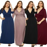 Women V-Neck Tank Evening Party Sexy Fashion Maxi Long Sleeve Dress Plus Size