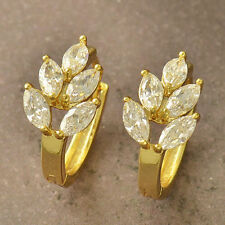 Unique New 9K Yellow Gold Filled Clear Cubic Zirconia CZ Leaf Hoop Earrings