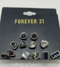 New NWT Forever 21 Rhinestone Stud Earring Card /Lot 6 Pairs Silver Tone