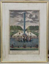 Versailles Sirens Fountain J. Le Pautre 1679 Copper Plate Color Engraving Print