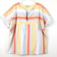 Lacoste VTG Shirt Women's Sz 40 Cotton rainbow Stripe Short Sleeve Boxy V Neck s