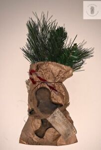 Primitive Wax Gingerbread Man in Grungy Paper Sack Christmas Greens FREE SHIP