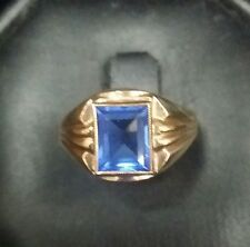 Estate 1940s Retro Period Men/ Boys 10k Gold Synthetic Blue Sapphire Ring Size 7