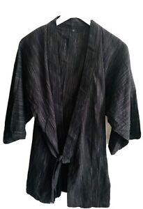 MUJI Seersucker Cotton Informal Kimono Dark Grey Pattern L UNISEX / BNWOT