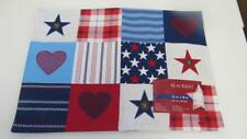 """Memorial Day 4th of July Flag Stars Blocked Placemat Centerpiece 13x18"""" NEW"""