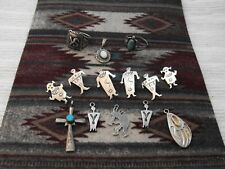 Vintage Sterling Silver Southwest Native Charm Pendant Lot Turquoise Cross Opal
