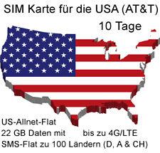 SIM Karte für die USA Amerika (AT&T) mit 22 GB und US-Allnet-Flat für 10 Tage