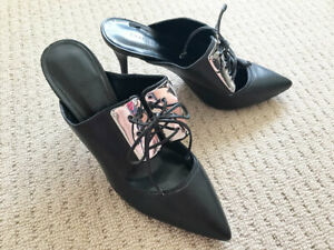 Charles & Keith Heels Black Leather Shoe Pointed Toe Slip On Women's Size 6