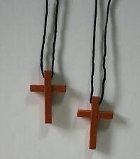 Wooden Cross Necklaces Set of 2 Halloween Costume Accessory Nun Priest