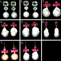 NATURAL WHITE BAROQUE PEARL AMETHYST TOPAZ RUBY EARRINGS 925 STERLING SILVER