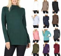 Womens Cotton Long Sleeve Mock Neck Turtleneck Top Shirt