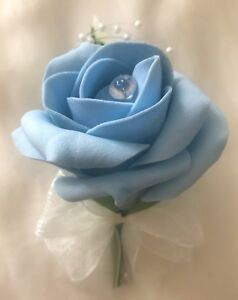 Light Blue single rose buttonhole