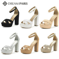 DREAM PAIRS Women's Ankle Strap Open Toe Chunky High Heel Sandals Platform Shoes