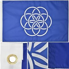 New Earth Flag Proposed 3' x 5' Ft 210D Nylon Premium Outdoor Embroidered Flag