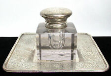 CRYSTAL & STERLING SILVER INK WELL OF ESTATE OF NY PLAYWRIGHT ROBERT H BURNSIDE
