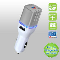 White/Gray Anion Car Charger with Air Purifier(with Dual USB output)(3.1A)