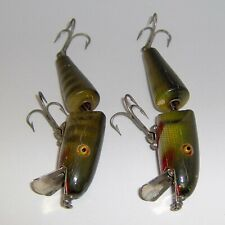 """New listing (2) Vintage Pflueger """"Pal-O-Mine"""" Wood Lures with Glass Eyes - Made In U.S.A."""