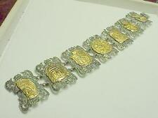 Sterling Silver & Solid Top Gold  Mayan Bracelet Just Unbelievable Piece Old Too