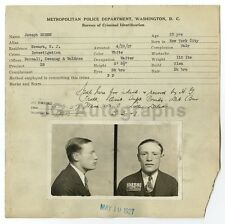 "Police Booking Sheet - Joseph Green/""Investigation"" - Washington, D. C. 1927"