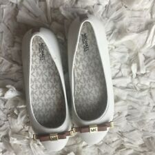 Michael Kors Fulton Kris-DD Girls Moccasin, Size US 3, Color Cream with Bow