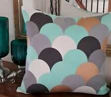 Teal, Grey & Gold Designer Cushion Cover