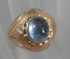 Antique Estate 10 Karat Rose Gold Light Blue Cabochon Ring Size 8 10K F0136
