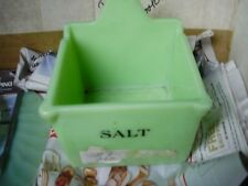 Jeannette Jadeite Green Salt Box ~ Jadite Green  Uranium glass