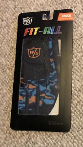 Wilson Staff Fit All Orange And Blue Camo Junior Golf Glove