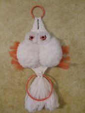 """Vintage Macrame Owl Wall Hanging 1970s White Fluffy 30 x 13"""" Large Hand Made"""
