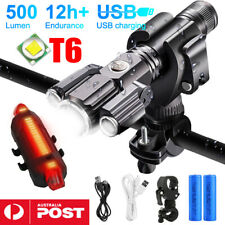 Bike Front Rear LED Flashlight Lights Mountain Bicycle USB Recharge Torch Lamps