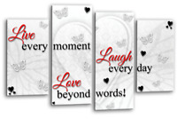 White Black Red Wall Art Grey Live Love Home Laugh Split Canvas Picture