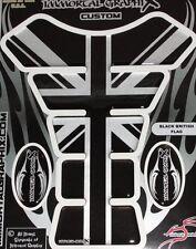 British Black Silver Metallic Flag Gel Motorcycle Tank pad tankpad protector