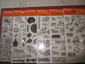 FISKARS Clear Acrylic Stamps Your Choice Phrases Friends Flowers Thanks Love