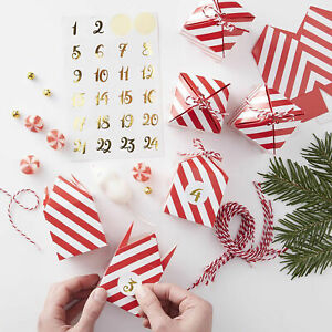 24X New Year Xmas Advent Calendar Boxes-Red&White Striped Boxes Stickers+ twine