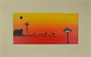 "Outback Emu Matted Print, Australian Prints 12"" x 19"""
