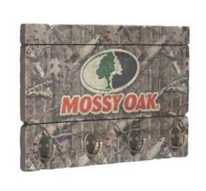 Mossy Oak Hanging Key Rack, Four Antique Brass Hooks MO-65307