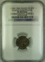 (1200-1300) France Valence Silver Denier Coin Roberts-4782 NGC VF Details AKR