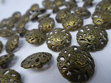 Vintage Round Ornate Floral w/ Empty Spaces Shank Buttons 20mm Lot of 10 B115-9