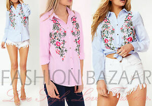 New Womens Blue Pink Striped Floral Embroidered Shirt Button Through Blouse Top