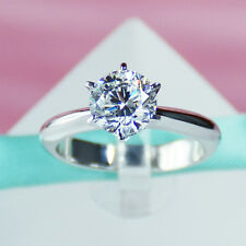 925 Sterling Silver 1Carat Cubic Zirconia CZ Solitaire Women Engagement Ring