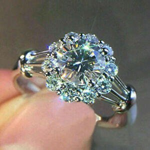Fashion 925 Silver Rings for Women White Sapphire Flower Jewelry Gift Size 8