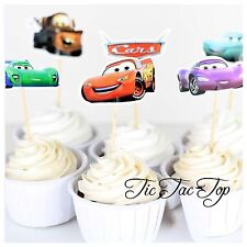 12 x Disney Cars CUPCAKE CAKE TOPPER Party Supplies Pick Food McQueen Lolly Bag
