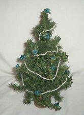 "11"" Miniature Dollhouse Artificial Christmas Tree Bead Garland Blue Floral Rose"