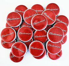 Budweiser Beer Bottle Crown Caps. Sanitized. Retro Old School Red Budweiser Caps