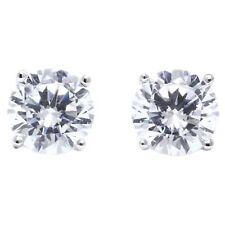 1 Ct Round Cut Stud Diamond Earrings in Solid 14k White Gold Screw Back Studs