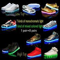 Fashion Men&Women High Low Top Led Light UP USB Luminous Lace Up Sneaker Shoes