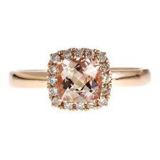 Gin & Grace 14k Rose Gold Cushion-cut Morganite and Diamond Ring Size 6,7,8