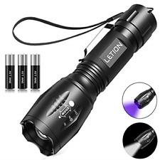 LETION LED Torch, UV Light 2 in 1 UV Torch Black Light Flashlight with 500LM & 4